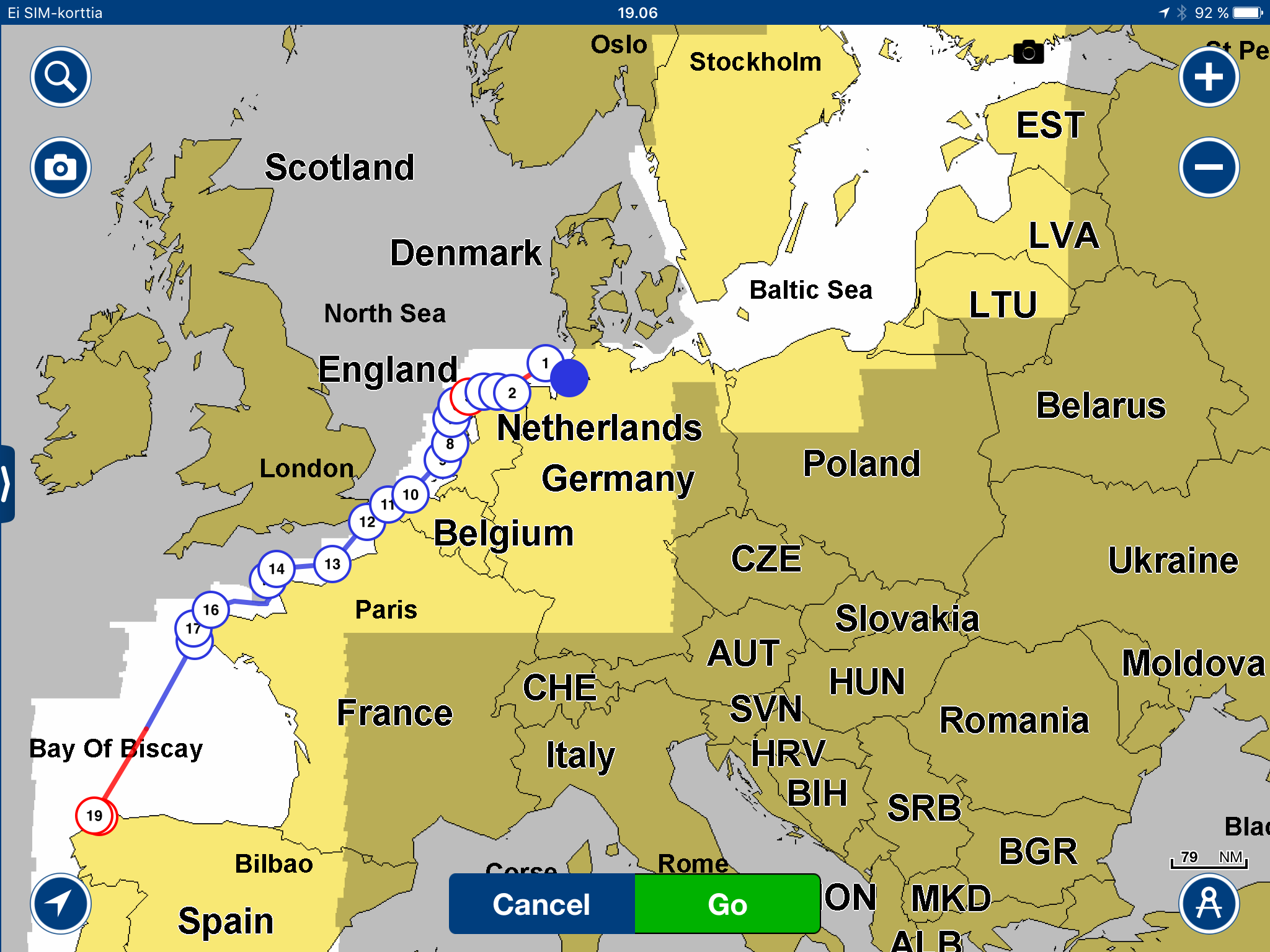 Map Of Germany To Spain.Sailing Route From Germany To Atlantic Spain S Y Stella Polaris