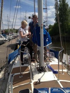 Sanna V. getting ready to climb to the mast.