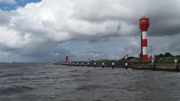 The Elbe river lighthouse at the Brunsbuttel lock.