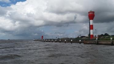 The Elbe river lighthouse at the Brunsbuttel lock.